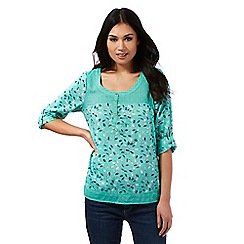 Mantaray - Green floral print top