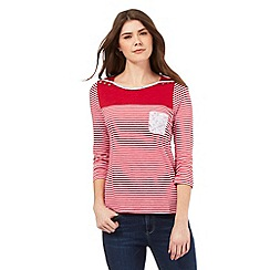 Mantaray - Red striped print shoulder button detail top