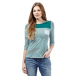 Mantaray - Green striped print shoulder button detail top