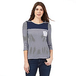 Mantaray - Navy striped print shoulder button detail top