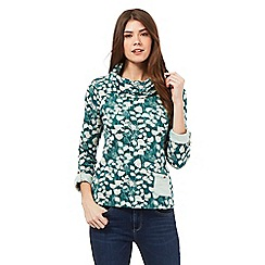 Mantaray - Dark green floral print roll neck jumper