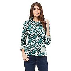Mantaray - Dark green floral print roll neck jumper