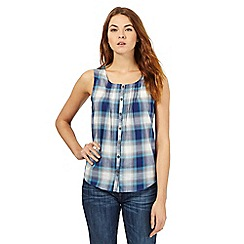 Mantaray - Blue checked sleeveless top