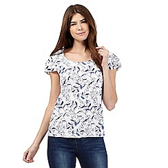 Mantaray - White leaf print shell top