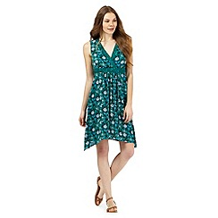 Mantaray - Green floral print hanky hem dress