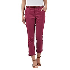 Mantaray - Dark pink belted cropped chinos