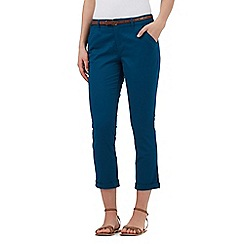 Mantaray - Turquoise belted cropped chinos