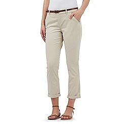 Mantaray - Beige belted cropped chinos