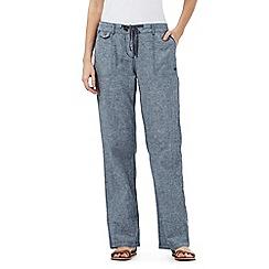 Mantaray - Blue textured linen blend trousers