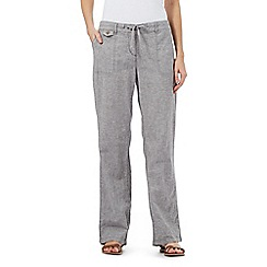 Mantaray - Grey textured linen blend trousers
