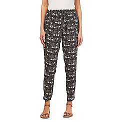 Mantaray - Dark grey leaf print trousers