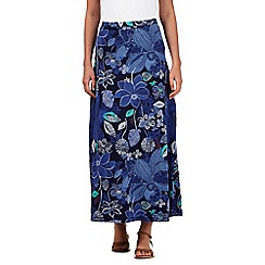 Mantaray - Dark blue jersey floral maxi skirt