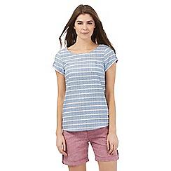 Mantaray - Blue striped print short sleeved top
