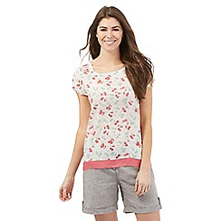 Mantaray - White cherry print short sleeve top