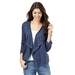 Mantaray - Blue dragonfly pointelle waterfall cardigan