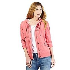 Mantaray - Pink leaf print hoodie