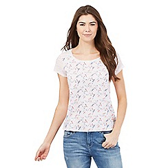 Mantaray - White dragonfly and stripe print top
