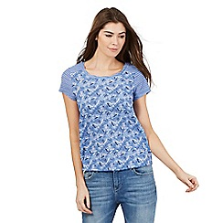 Mantaray - Blue dragonfly and stripe print top