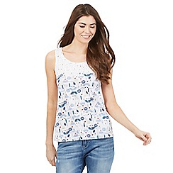 Mantaray - Off white flower and ladybird print top