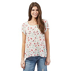 Mantaray - White cherry print swing shell top