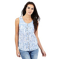 Mantaray - Light blue leaf print top