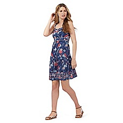 Mantaray - Blue floral print textured sun dress