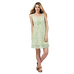 Mantaray - Green cherry print textured sun dress