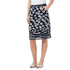 Mantaray - Navy spot print woven skirt