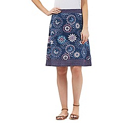 Mantaray - Navy floral circle print skirt
