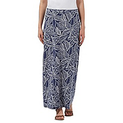Mantaray - Blue leaf print skirt