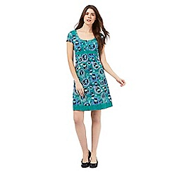Mantaray - Green floral print spotted trim dress