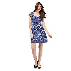 Mantaray - Blue floral print spotted trim dress