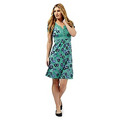 Mantaray - Green leaf print dress