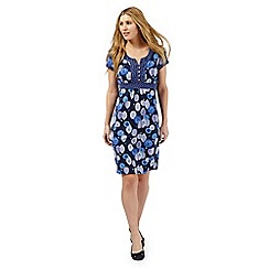 Mantaray - Navy leaf print dress