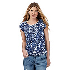 Mantaray - Blue floral print top