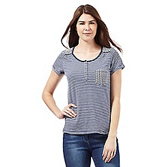 Mantaray - Navy striped floral embroidered top