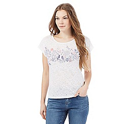 Mantaray - White bird print t-shirt