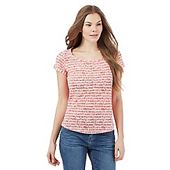 Mantaray - Red striped floral print t-shirt