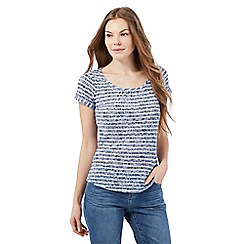 Mantaray - Blue striped floral print t-shirt