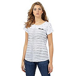 Mantaray - White striped dragonfly print top