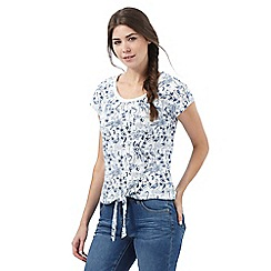Mantaray - White flamingo print tie front top