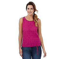 Mantaray - Dark pink leaf embroidered vest top