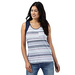 Mantaray - Navy cut-out striped top