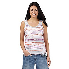 Mantaray - Multi-coloured striped flamingo print vest top