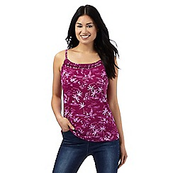 Mantaray - Dark pink palm tree print cami top