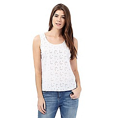 Mantaray - White embroidered vest top