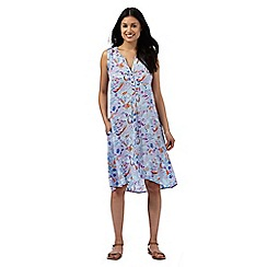 Mantaray - Blue bird and leaf print sun dress