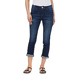 Mantaray - Dark blue whiskered-effect cropped jeans