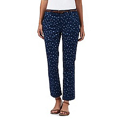 Mantaray - Blue dandelion print cropped chinos