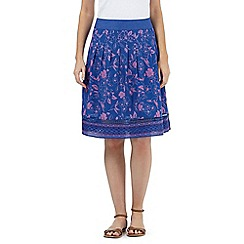 Mantaray - Bright blue hummingbird print skirt
